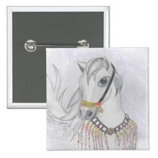 Arabian Horse in Indian Costume in Color Pencil 15 Cm Square Badge