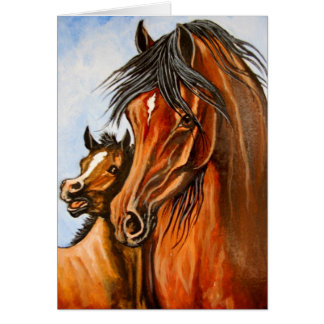 Arabian Mare and Foal Card