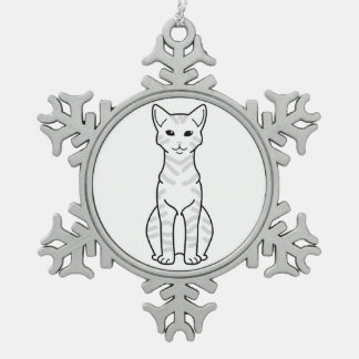 Arabian Mau Cat Cartoon Snowflake Pewter Christmas Ornament