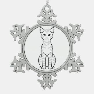 Arabian Mau Cat Cartoon Snowflake Pewter Christmas Ornament