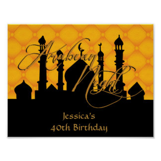 Arabian Night, 40th Birthday Party Poster