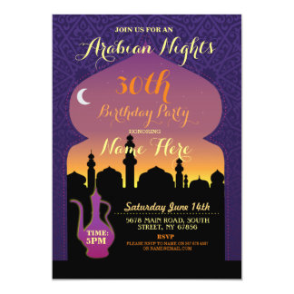 Arabian Nights Birthday Party Any Age 30th Invite
