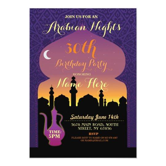 Arabian Nights Birthday Party Any Age 30th Invite