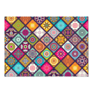 Arabian Nights colourful mosaic party theme 13 Cm X 18 Cm Invitation Card