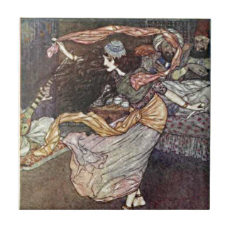 Arabian Nights Dancing Girl with Scarves Illustrat Small Square Tile