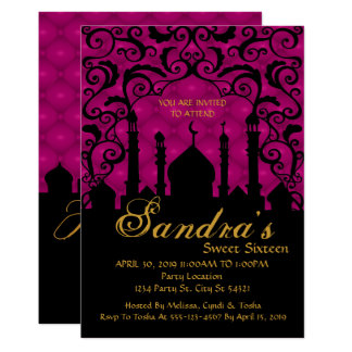 Arabian Nights, Fuchsia and Black Invitation