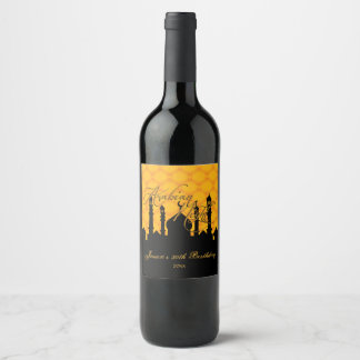 Arabian Nights, Gold and Black Wine Label