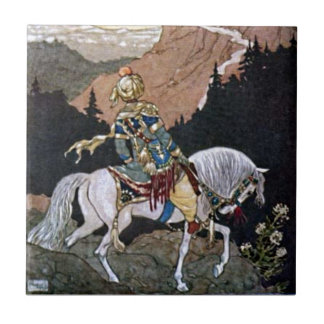 Arabian Nights Knight Prince on White Horse Small Square Tile
