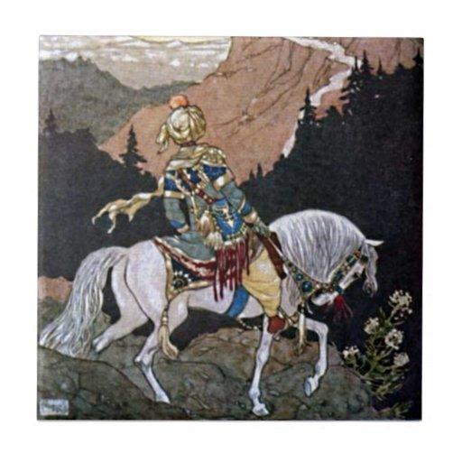Arabian Nights Knight Prince on White Horse Tiles
