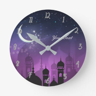 Arabian Nights Moroccan Purple Palace Personalized Round Clock