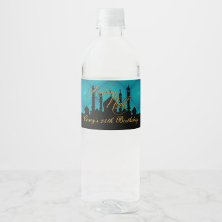Arabian Nights Party, Elegant Teal Water Bottle Label