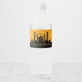 Arabian Nights Party, Gold & Black Water Bottle Label