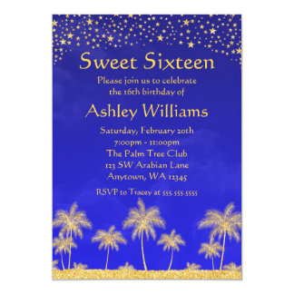 Arabian Nights Stars Sweet 16 Birthday Party Card