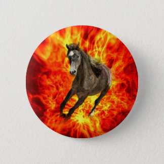 Arabian on fire 6 cm round badge