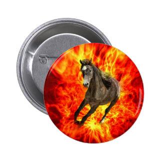Arabian on fire 6 cm round badge