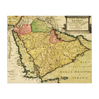 Arabian Peninsula of the Middle East Map Canvas Print