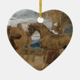 Arabian Stallion led by two Arabians to breed Ceramic Heart Decoration