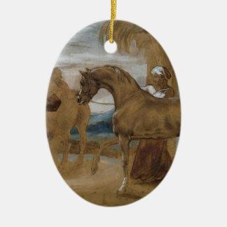 Arabian Stallion led by two Arabians to breed Ceramic Oval Decoration