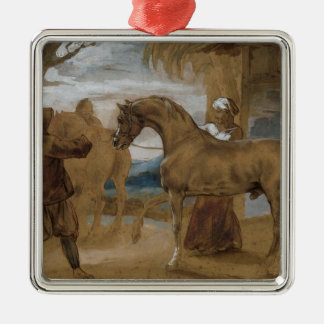 Arabian Stallion led by two Arabians to breed Silver-Colored Square Decoration