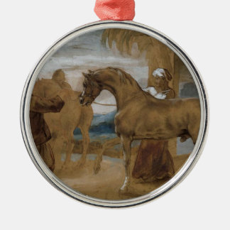 Arabian Stallion led by two Arabians to breed Silver-Colored Round Decoration