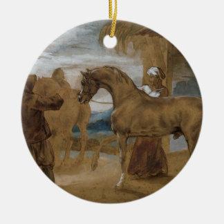 Arabian Stallion led by two Arabians to breed Round Ceramic Decoration