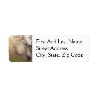 Arabian White Horse Head Painting Art Return Address Label
