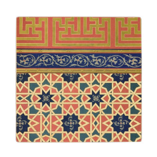 Arabic decorative designs (colour litho) wood coaster