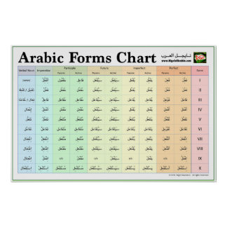 Arabic Forms Chart (Verb Forms I-X) Poster