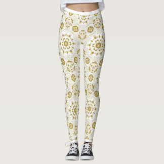 Arabic golden lace | Flower motif Leggings