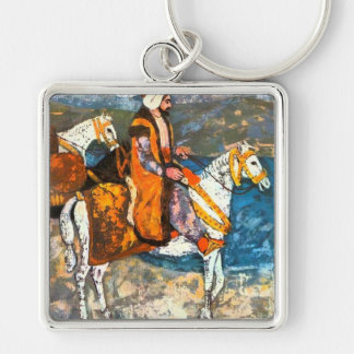 Arabic Horseman Silver-Colored Square Key Ring
