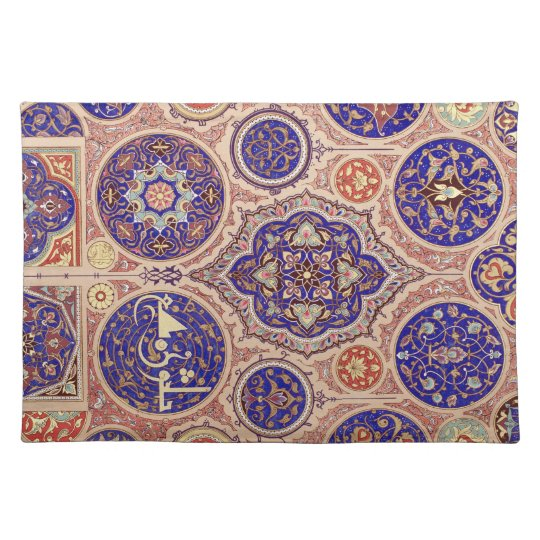 Arabic Middle Eastern Blue Rosetttes Vintage Placemat