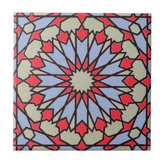 Arabic Middle Eastern Tile Geometric Red Blue