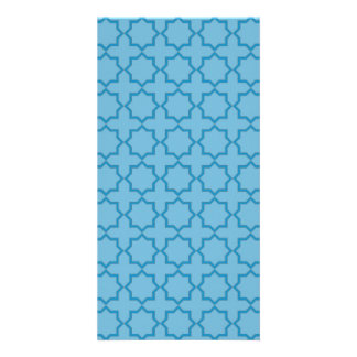 Arabic Moroccan Lattice in Denim Blue Card