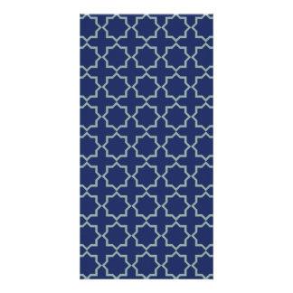 Arabic Moroccan Lattice in Midnight Blue Personalised Photo Card