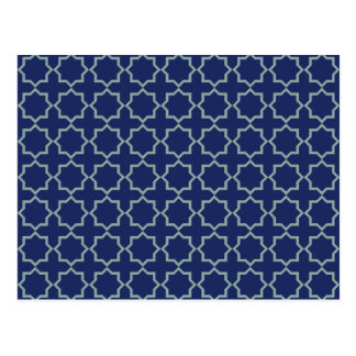 Arabic Moroccan Lattice in Midnight Blue Postcard