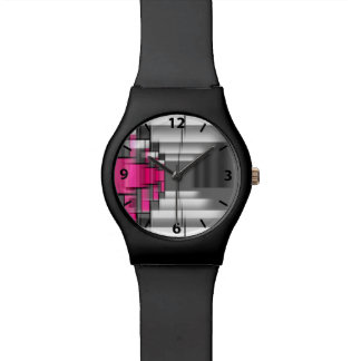 Arabic Numbers Pink Gray And White Geometrical Watch