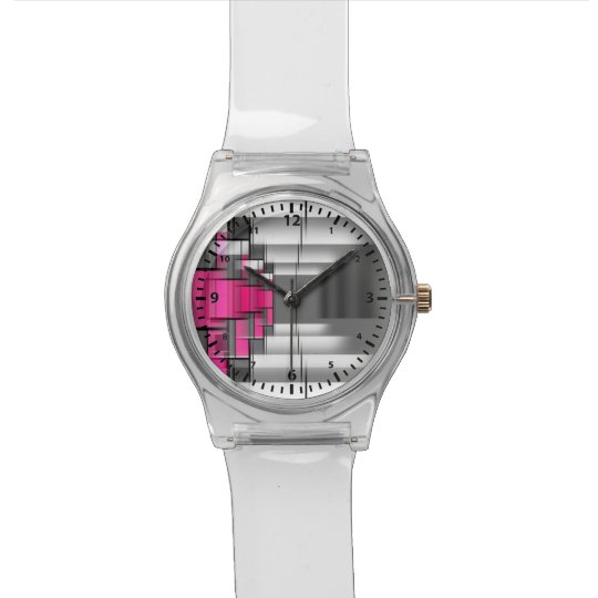 Arabic Numbers Pink Grey And White Geometrical Watch