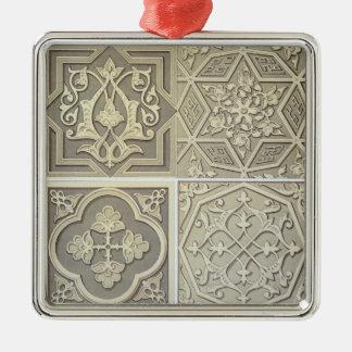 Arabic tile designs (colour litho) Silver-Colored square decoration
