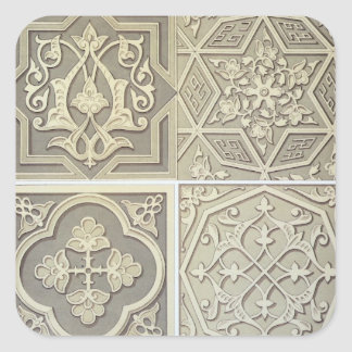 Arabic tile designs (colour litho) square sticker