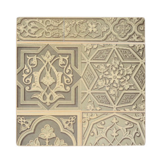 Arabic tile designs (colour litho) wood coaster