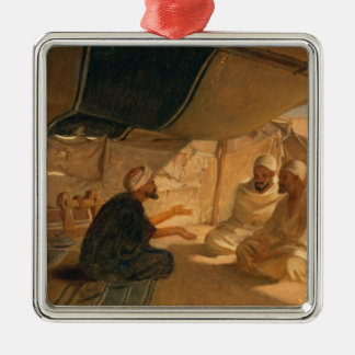 Arabs in the Desert, 1871 Silver-Colored Square Decoration