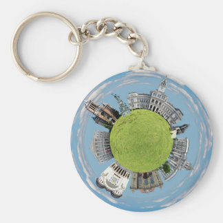 Arad city romania tiny little planet landmarks arc key ring
