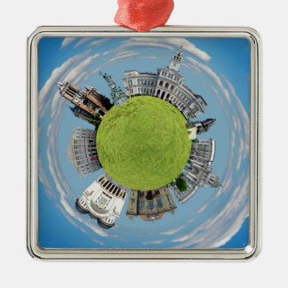 Arad city romania tiny little planet landmarks arc Silver-Colored square decoration