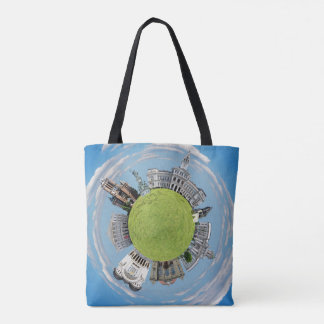 Arad city romania tiny little planet landmarks arc tote bag