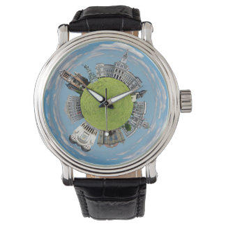 Arad city romania tiny little planet landmarks arc watch