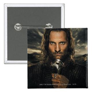 Aragorn Sword Down 15 Cm Square Badge