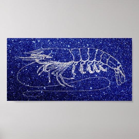 Aragosta Crab Sea Ocean Navy Blue Silver Gray