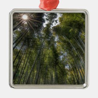Arashiyama Bamboo Grove - Kyoto, Japan Silver-Colored Square Decoration