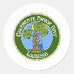 Arbor Day Louisiana Round Stickers