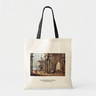 Arbor On The Banks Of A River By Guardi Francesco Tote Bags